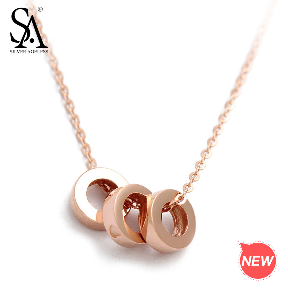 SILVER AGELESS 18K Rose Gold/White Gold Circle Pendant Necklaces for Woman Fine Jewelry Choker Chain Necklace Real Gold 2018 New cm50ye13 12f cm75ye13 12f original