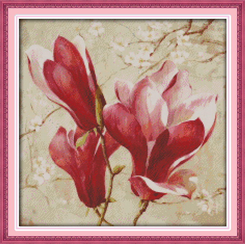 Cross-stitch Fashion Style Magnolia Flower Cross Stitch Kit Count Printed 18ct 14ct 11 Cotton Silk Thread Embroidery Diy Handmade Needlework Multi Pictures Good Heat Preservation
