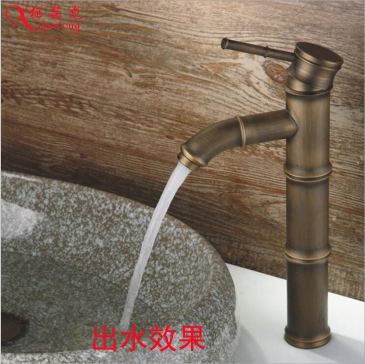 European Nordic Classic Luxury Hotel Villa All Copper Antique Bamboo Basin Faucet Washbasin