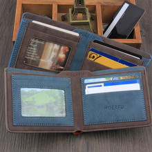 2 Color High Quality Male Retro Matte PU Leather Wallets Men Wholesale Short Dollar Pouch Card Holders Purse Pocket Money Bag