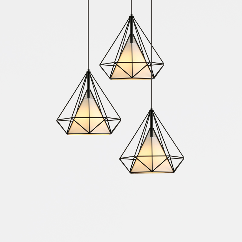 Modern Industrial Pendant Light Wrought Iron black iron birdcage Lighting Scandinavian loft pyramid lamp metal cage Ceiling Lamp iron modern pendant light wrought iron cage droplight vintage pendant lamps foyer lamp loft light black white e27 85 260v