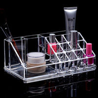 Clear Acrylic Lipstick Holder Cosmetic Case Make Up Organizer Display Storage Box Stand Lipstick Brush Insert