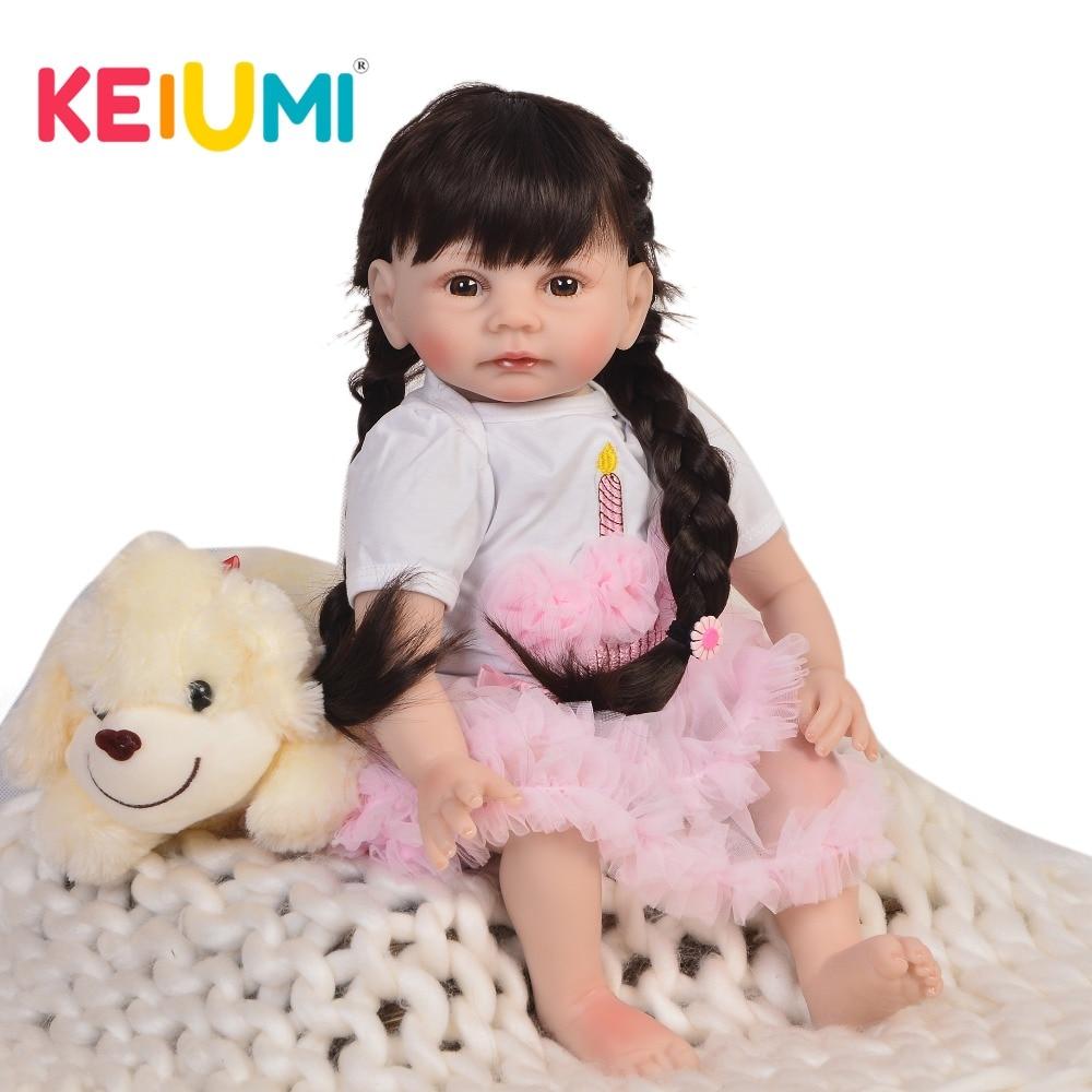 KEIUMI 22 pulgadas nueva llegada Reborn Alive Doll Cloth Body 55cm realista Baby Doll juguetes para niños cumpleaños Navidad regalos de pelo largo DIY-in Muñecas from Juguetes y pasatiempos    1
