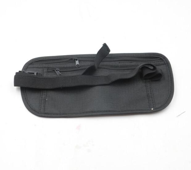 Black Outdoor Sports Waist Bag Slim Travel Secret Security Money Body Waist Pouch Wallet Bag For Women Man Unisex B2Csho