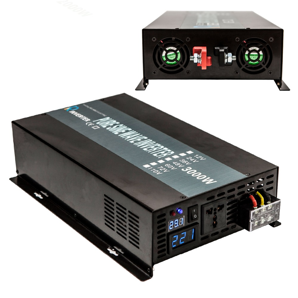 Pure Sine Wave Power Inverter 3000w 12v to 120v Solar Panel Inverter Car Converter 12V/24V DC to 120V/220V/230V AC Power Supply digital display peak power 3000w rated power 1500w pure sine wave inverter dc12v 24v to ac110v 220v 50hz 60hz for solar system