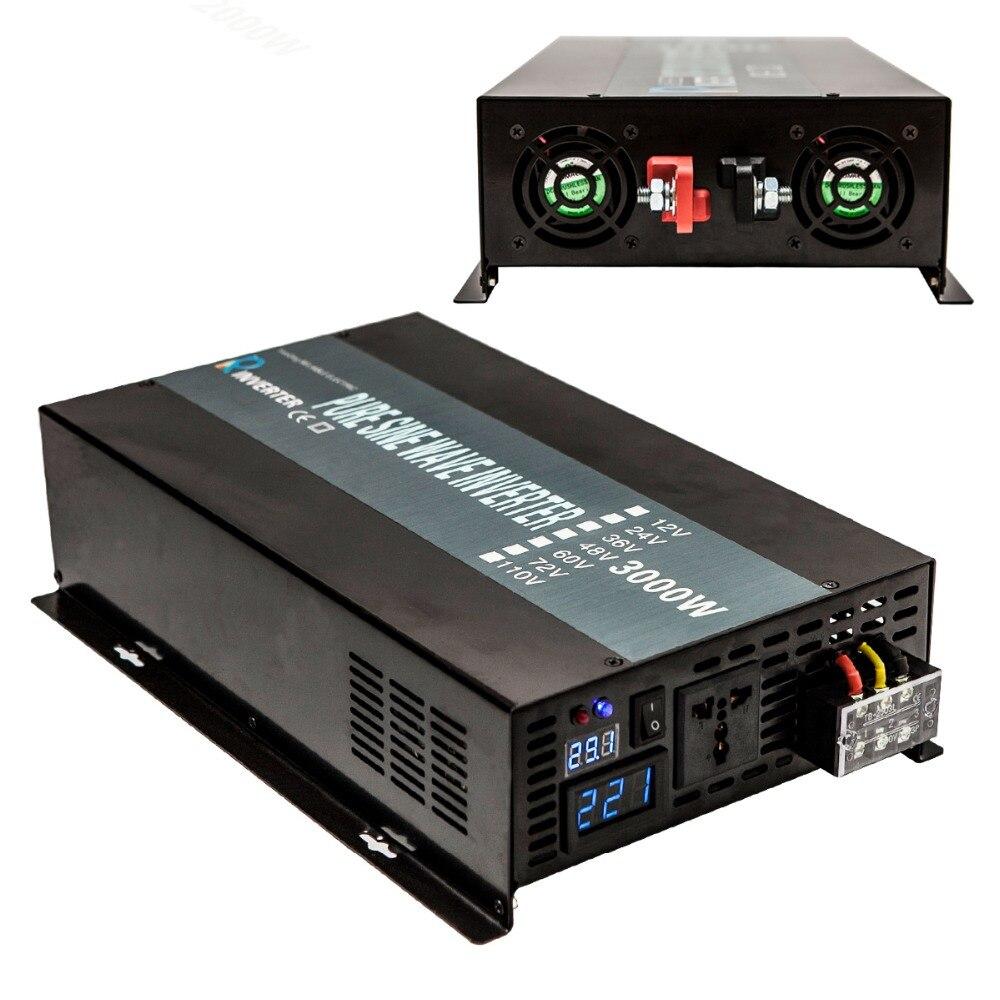 Solaire Onduleur 3000 W 24 V 120 V Onde sinusoïdale Pure Onduleur Batterie Pack Convertisseur 12 V 24 V DC à 120 V 220 V 230 V AC Puissance fournir