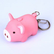 Fashion 1PC Hot 3 Colors Funny Pig Led Keychains Flashlight Sound Creative Kids Toys Light Key Rings Bag car accessories gifts creative car model style led white flashlight keychain w sound red black