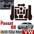 Para VW Passat B8 Anti de Goma Antideslizante Taza Cojín Ranura Puerta Estera 13 unids/set Volkswagen MK8 2016 2017 Accesorios Styling Car Sticker