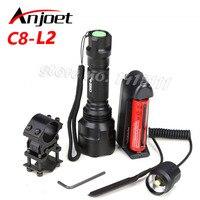 C8 Охотничий Тактический фонарь CREE XM-L2 светодиодный 1/5 Режим факел Водонепроницаемый светодиодный фонарик 18650 батарея + Зарядное устройство +...