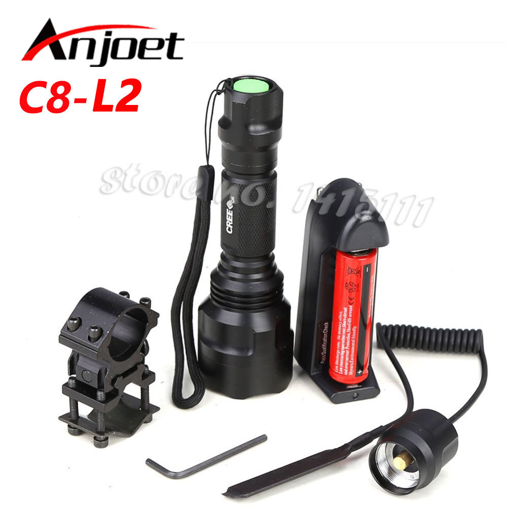 C8 Hunting Light Tactical flashlight CREE XM-L2 LED 1/5 mode  torch led Waterproof flashlight 18650 battery+Charger+Gun Mount 2017 newest flashlight led cree xm l2 flash light 4 mode torch bike bicycle light outdoor lighting 18650 battery mount holder