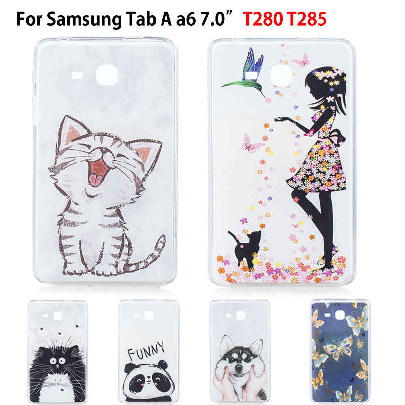 "TPU Soft Case For Samsung Galaxy Tab A a6 7.0 2016 T280 T285 SM-T280 SM-T285 7.0"" Cover Funda Tablet  Cat Puppy Shell"