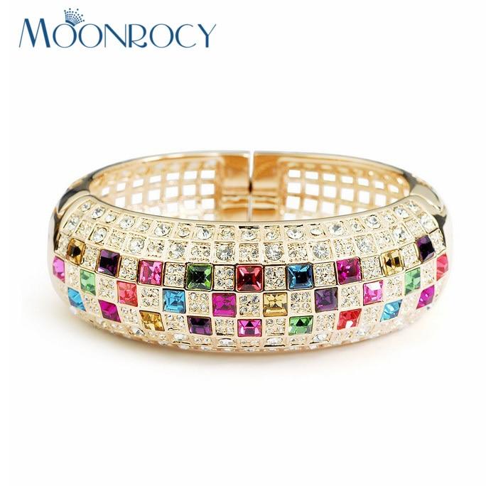 MOONROCY Livraison Gratuite Bracelet En Cristal Autrichien Zircon Bijoux De Mode En Gros Rose Or Couleur pour Filles Femmes Cadeau