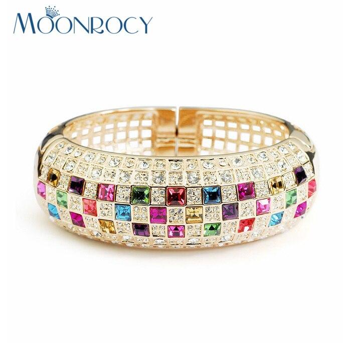 MOONROCY livraison gratuite Bracelet en cristal autrichien zircone bijoux de mode en gros couleur or Rose pour les filles femmes cadeau