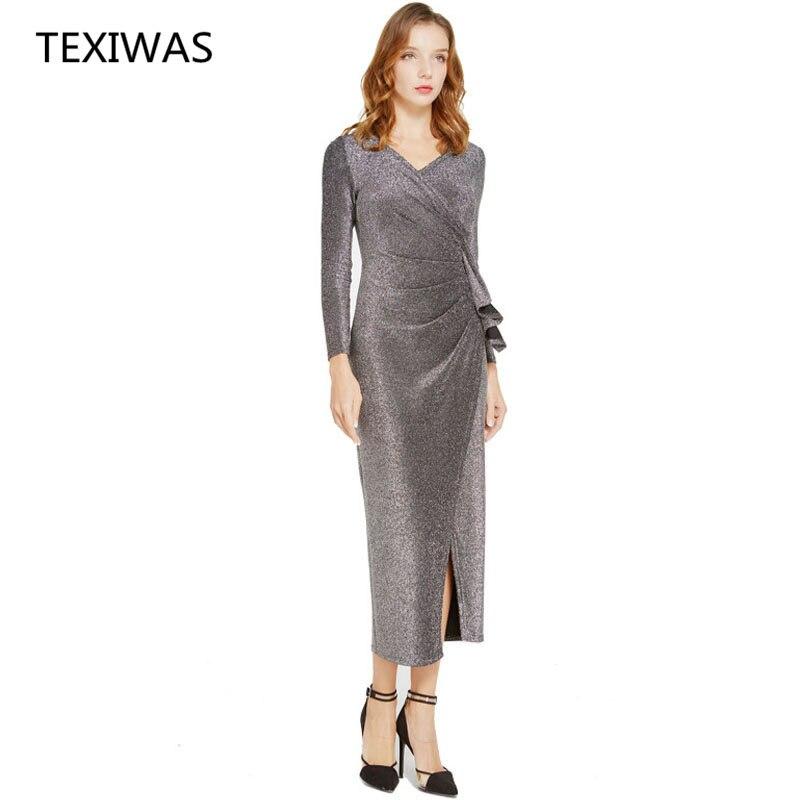 100% Waar Texiwas Wrap Ruches Jurk Vrouwen Elegante Ol Avond Party Dress Shining Split Patchwork Slanke Geplooide Lange Zakelijke Banket Jurk
