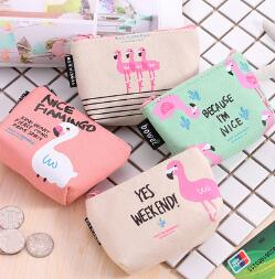2018 ALOHAKIM Creative cartoon bird zero wallet key package of flamingo canvas to collect packet Key Coin Bag