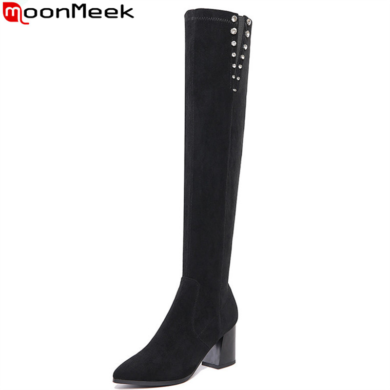 MoonMeek 2017 hot sale new arrive women boots fashion autumn winter over the knee boots zipper cow suede high heels long boots mulinsen new arrive 2017 autumn winter men