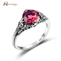 고대 로마 반지 골동품 라운드 오목 붉은 돌 CZ 반지 순수 925 스털링 실버 빈티