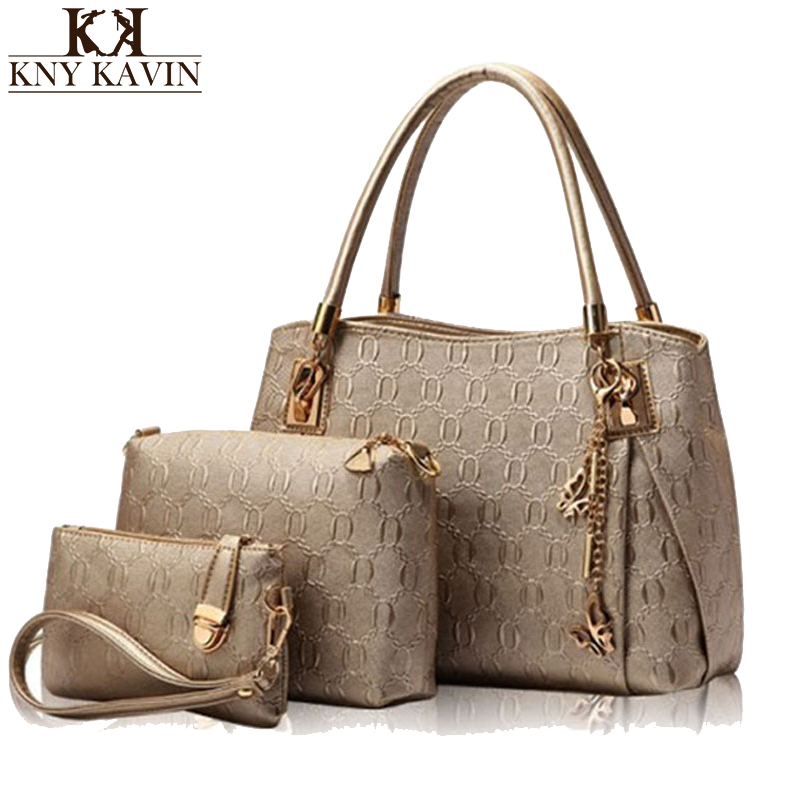 KNY KAVIN New Women Bags Set 3 Pcs Leather Handbag Casual Shopping Bags Ladies Brand Designer Bag Handbag+Messenger Bag+Purse