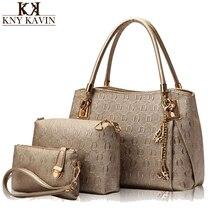 New 2017 Women Bags Set Leather Handbag Women Casual Travel Bags Ladies Brand Designer Bag Handbag+Messenger Bag+Purse 3 Sets