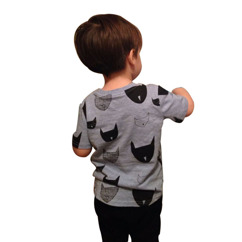 Brand New Kids Clothes Boys Girls T Shirt Tops Cotton Jersey Allover Cat Print Baby T