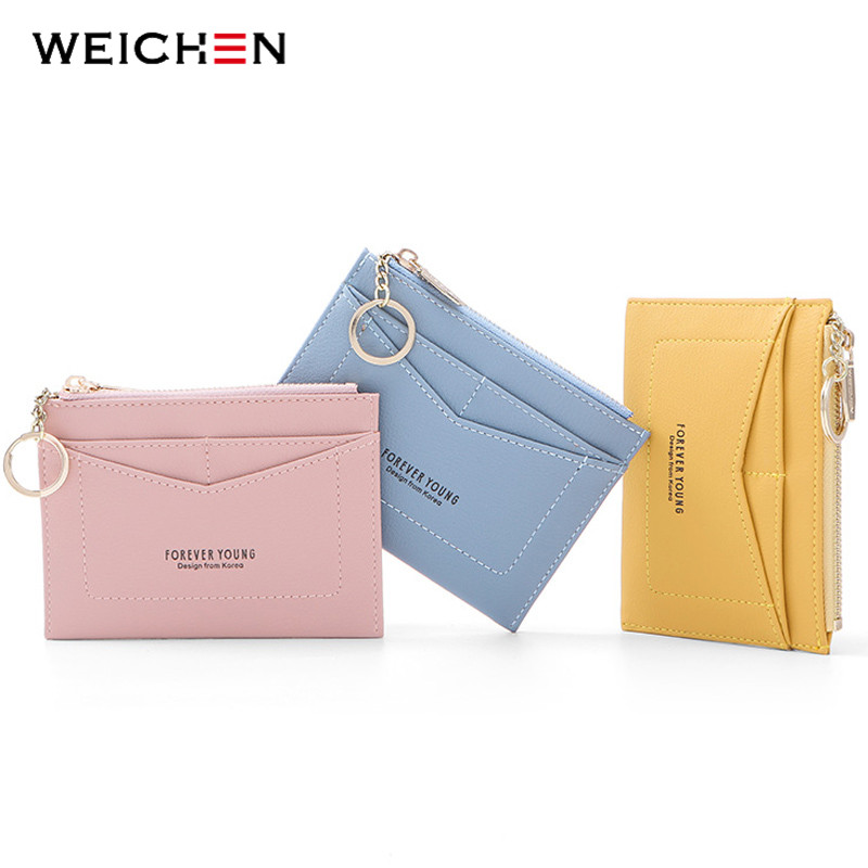 WEICHEN Slim Key Chain Card Holder Women Leather Bag Small Card Wallets Female Organzier Mini Credit Card Case Zipper Coin Bags