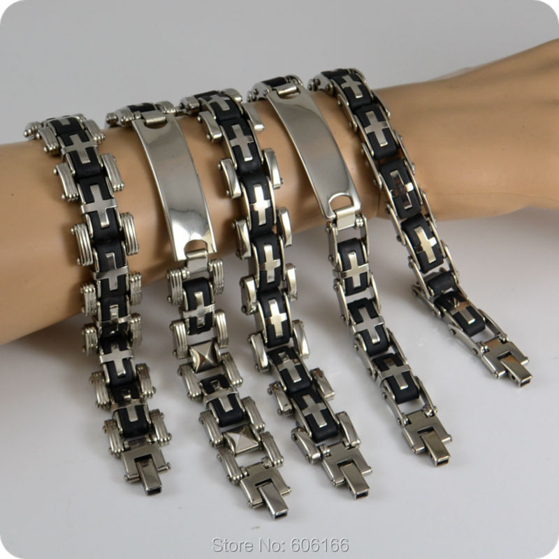 Cross 5 Design Mix Stainless Steel Bracelet Men S Chains Bracelets Fashion Catholic Religious Jewelry Lot Whole In Chain Link From