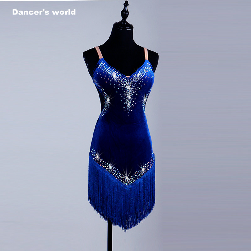 2017 New style Latin Dance Costume Sexy Senior Spandex Stones Dress Dancing Sleeves LatinDance for Women