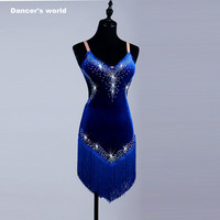 2017 New style Latin Dance Costume Sexy Senior Spandex Stones Dress Dancing Sleeves LatinDance for Women Latin Dance Dresses
