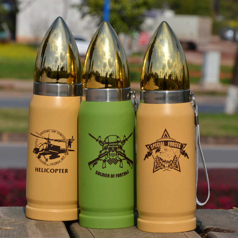 350ML Creative Army fans Portable Stainless steel bullet Vacuum Flask Thermos water bottle skull Bullet Insulated flask bottle