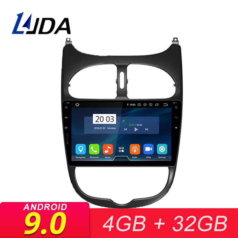 LJDA <font><b>Android</b></font> 9.0 Car Multimedia Player For <font><b>Peugeot</b></font> <font><b>206</b></font> 2002 2003 2004 2005 2006 2007 2008 GPS Stereo Radio 4G+32G Stereo WIFI image