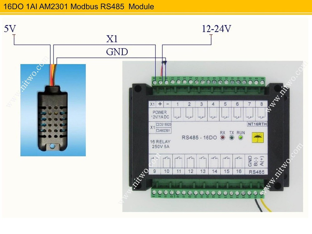 16 DO 220V 5A Relay & AM2301 Optical isolate TVS protection RS485 Modbus Humidity Temperature Module Free Test Software - Ni Two Tech store