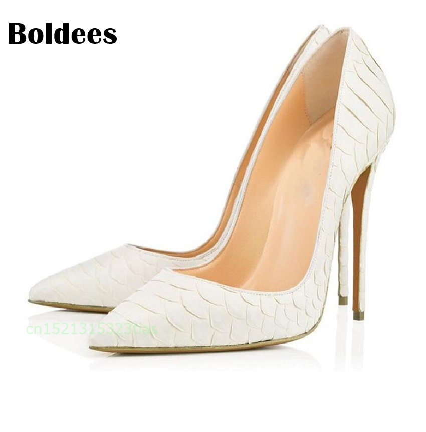 Women Pumps 2018 Pointed Toe Slip on Python Pattern Leather High Heels Ladies White Grey Thin Heel Zapatos Mujer Plus Size 2016 real colorful women pumps custom made plus us4 us15 high heels peep toe slip on zapatos mujer patent leather ladies shoes