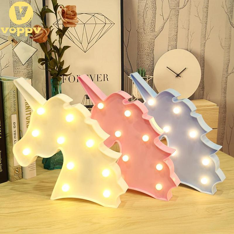 Creative Cute Unicorn Head Led Night Light Animal Marquee Lamps On Wall For Children Party Bedroom Decor Kids Gift NZD0424