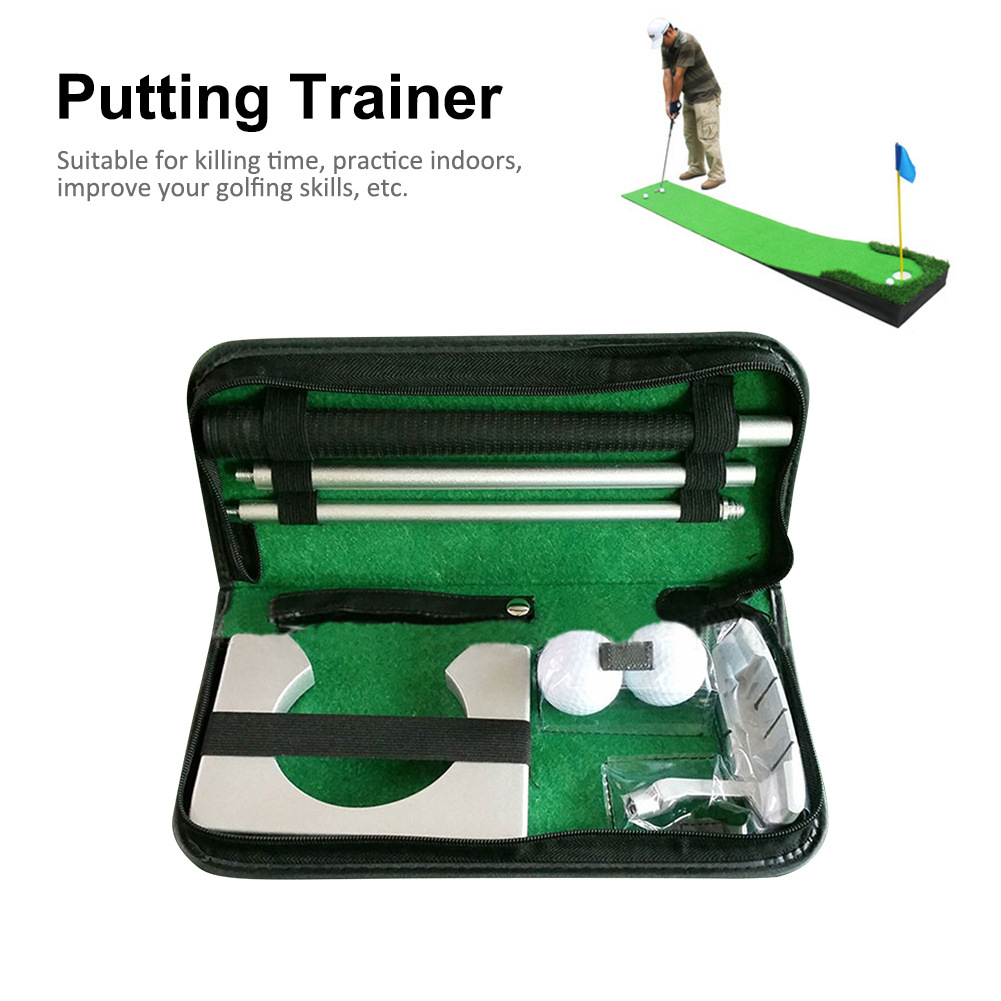 Portable Golf Putter Putting Trainer Set Indoor Training Equipment Golfs Ball Holder Training Aids Tool with Carry Case 9