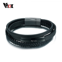 Vnox Genuine Leather Bracelet Bangle For Men Multi Layer Leather ID Identification Male Jewelry Engraved Service