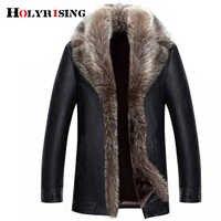 Holyrising real gola de pele de guaxinim homens jaquetas de couro falso inverno engrossar casaco de couro do plutônio dos homens 18536-5