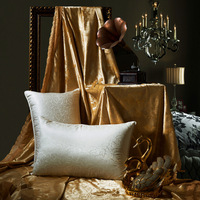 95% White Goose Pillow Filled (1kg) Double Sided Silk Jacquard Fabric for pillowcase 48cmx74cm