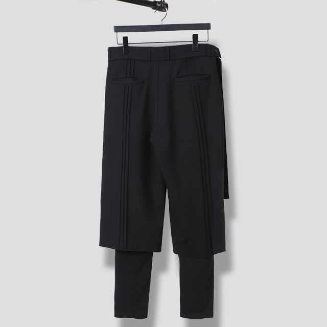 S-6XL!!Spring and summer  is original and loose male false two restore ancient ways waist fasten to take wide leg trousers 2