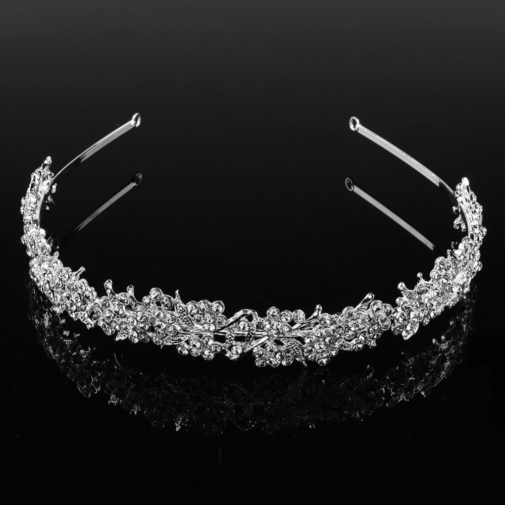 JINSE Crystal Rhinestone Shining Flower Leaf Wedding Bridal Tiara Crown Headband CR182 in Hair Jewelry from Jewelry Accessories