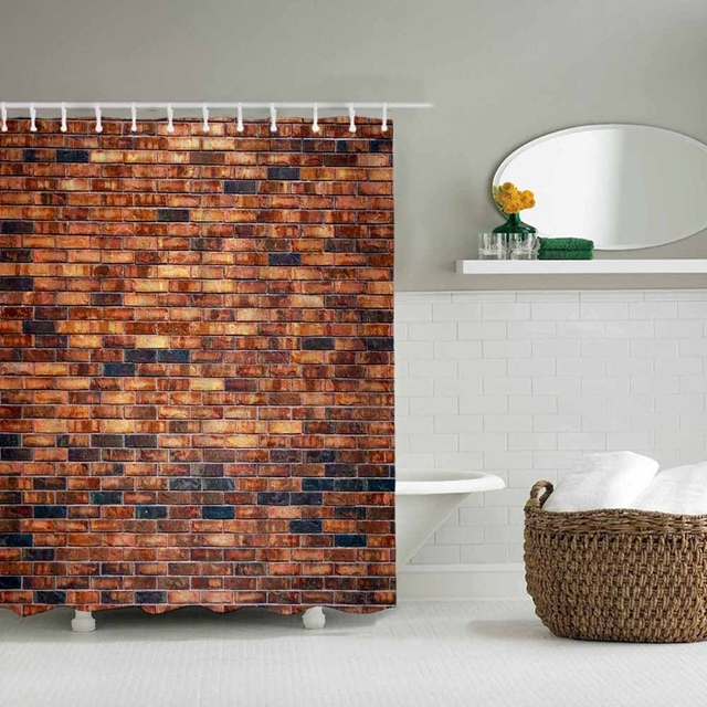 Different Custom Waterproof Bathroom Red Brick Wall Shower Curtain Polyester Fabric