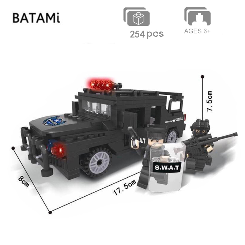Model building kits Compatible with Lego city building block city Police station Swat jeep sets 254 pcs 2 Bricks minfigures toys