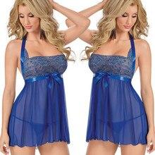 Sexy Women Nightwear Mini Nightgowns Summer Style Lingerie Sexy Lace Dress Ladies Female Sleepwear Underwear 2018