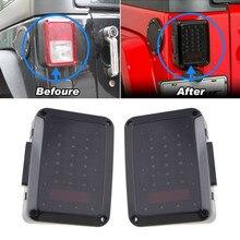 2 Pcs Smoke Lens Wrangler 07-15 JK LED Brake Tail Lights Bulb Assembly Conversion Rear Turn Singal Reverse Lights ( USA /EU )