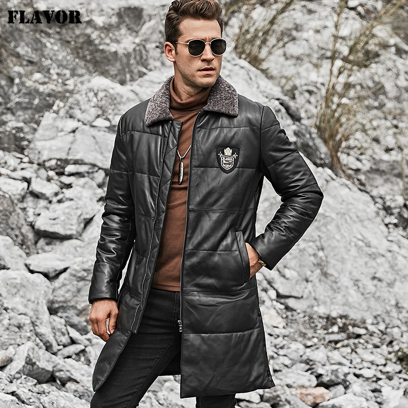 نكهة الرجال حقيقي جلدي أسفل معطف الرجال حقيقية الخراف الشتاء الدافئة سترة جلدية مع إزالة الأغنام الفراء طوق-في معاطف جلد طبيعي من ملابس الرجال على  مجموعة 1