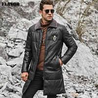 GESCHMACK männer Echt Leder Unten Mantel Männer Echtes Lammfell Winter Warme Leder Jacke mit Abnehmbarer Schafe Pelz Kragen