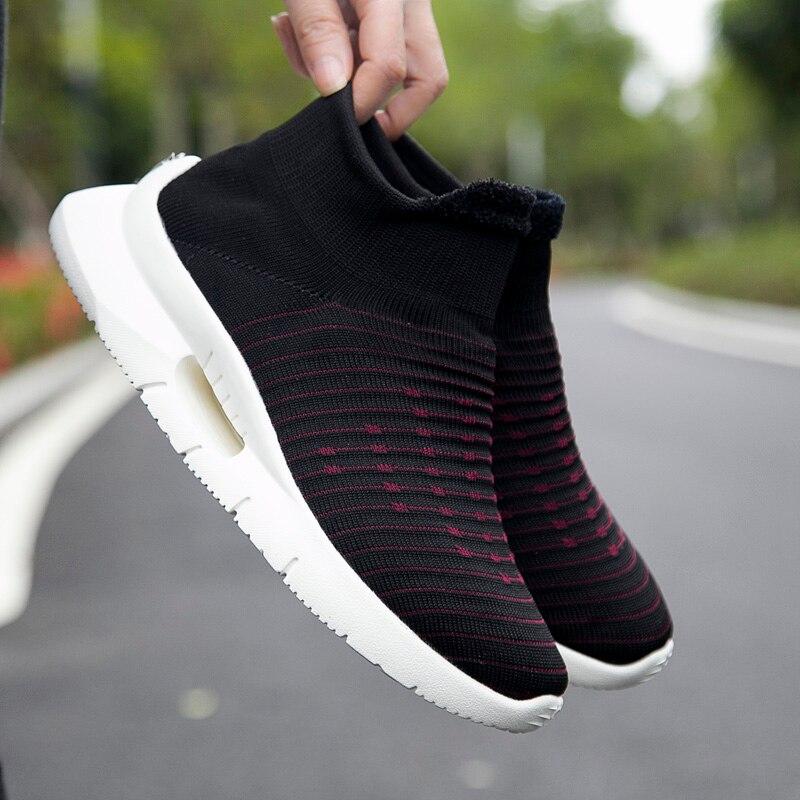 2019 printemps nouveau homme chaussures de marche chaussettes chaussures de sport décontracté fond épais chaussures à bascule femmes appartements