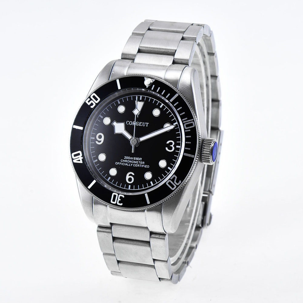 New Corgeut  41MM  Luminous Sapphire glass Black dial stainless steel strip Japan Miyota Automatic water resistant  mens Watches 41mm corgeut wristwatches stainless steel case black dial date 20atm miyota 2815 automatic movement mens water resistant watches