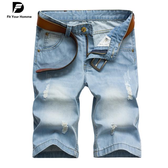 Nuevo diseñador de moda 2016 del verano pantalones vaqueros De Ocio pantalones delgados pantalones vaqueros de los hombres pantalones vaqueros de mezclilla hombres ligeros azules de la aptitud pantalones cortos