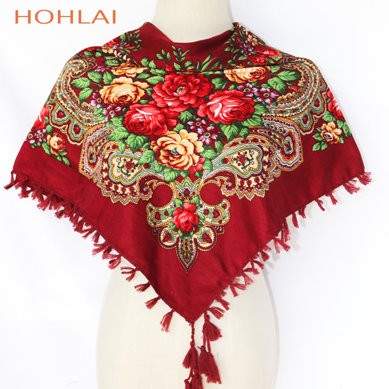 ed277252060 New Hot Sell Russia Wquare Fashion decorative Scarf handmade tassel flower  design Scarves Blanket Shawl Handkerchief for Women