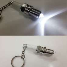 car keychain creative LED key chain spark plug motorcycle key ring auto accessories for bmw ford lada kia vw honda peugeot